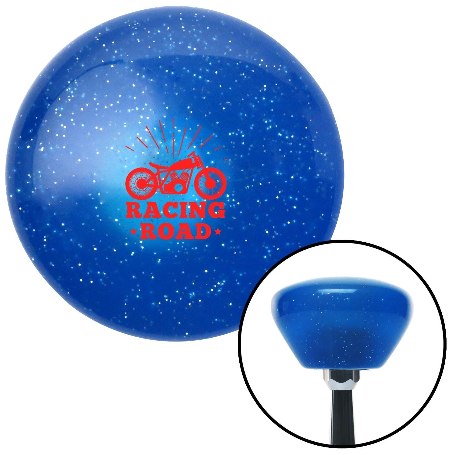 American Shifter 289652 Shift Knob Red Racing Road Blue Retro Metal Flake with M16 x 1.5 Insert