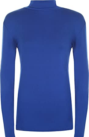 WearAll Women's Plus Size Polo Neck Long SLeeve Ladies Stretch Bodycon Top - Royal Blue - US 20-22 (UK 24-26)