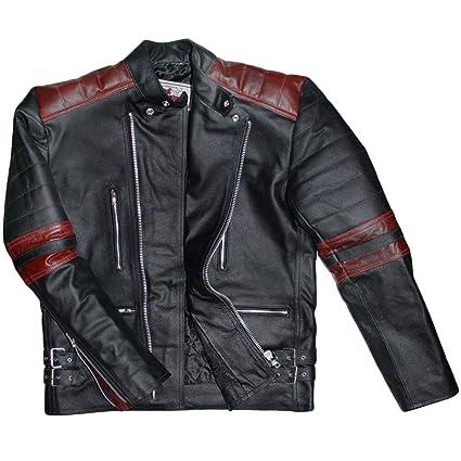 German Wear Oldschool Retro Chaqueta Moto de Piel, Negro ...