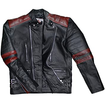 German Wear Oldschool Retro Chaqueta Moto de Piel, Negro ...