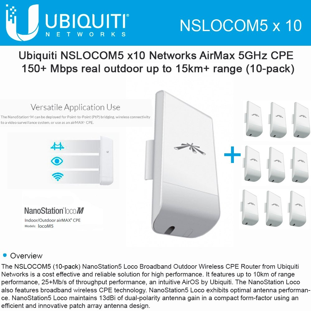 Ubiquiti LocoM5 10 units Nanostation Loco M5 5GHz Indoor Outdoor CPE 150+Mbps