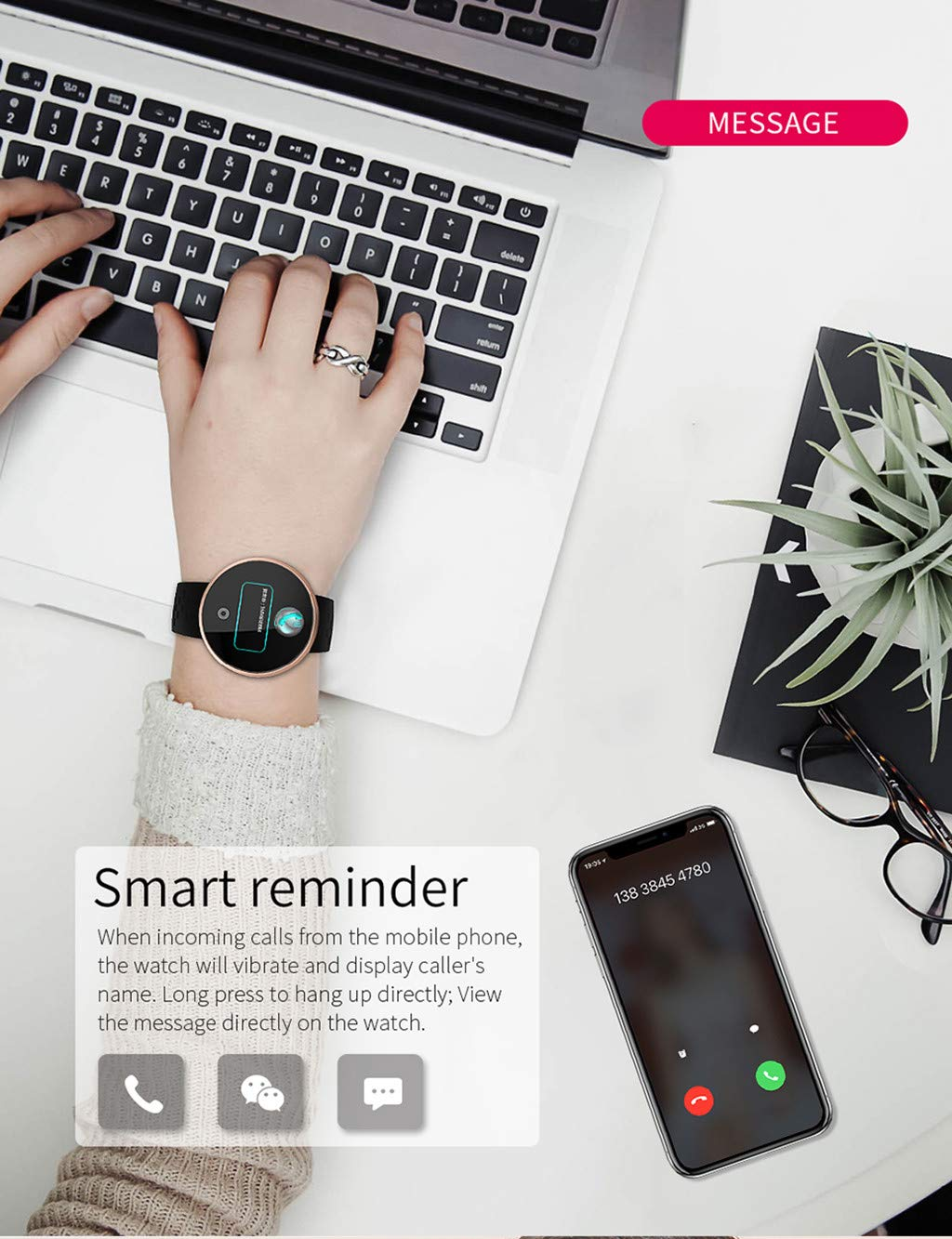 TADAMI Female Heart Rate Color Screen Physiological Period Reminds Fashion Smart Bracel (Black) by TADAMI Blouse (Image #7)
