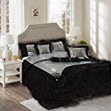 Tache 6 Piece Night Out Black Silver Luxurious Comforter Set, Queen