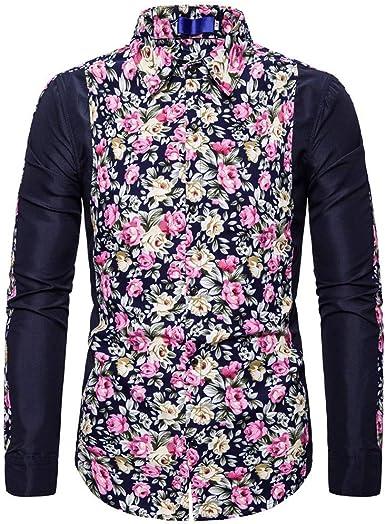 SO-buts Hombres Otoño Invierno Flor Floral Moda Manga Larga Impreso Costura Camisa Casual Trabajo Formal Blusa Superior: Amazon.es: Ropa y accesorios