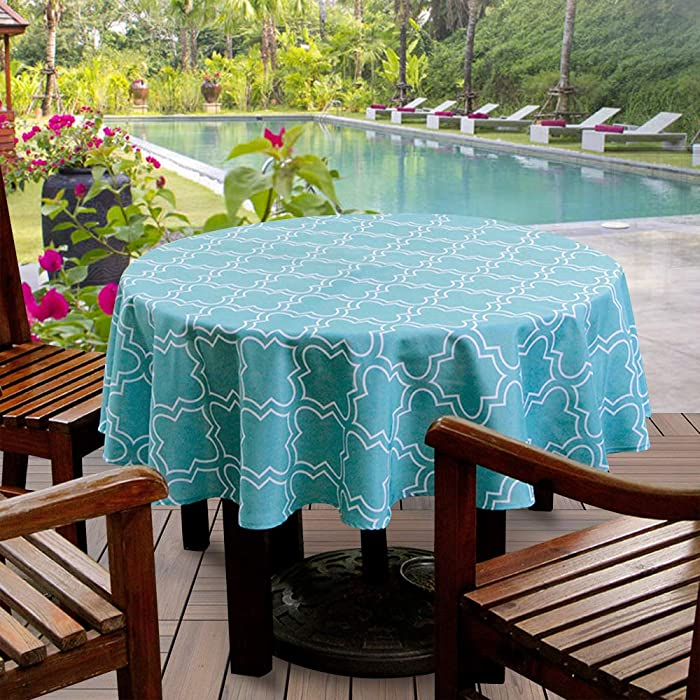 Aoohome Geometric Leaf Decor Fabric Tablecloth, 60 inch Round Heavy Duty Table Cloth for Picnic and Party, Water Repellent, Spill Proof, Stain Resistant, Oil Proof, Washable, Green