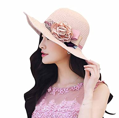ced55f1415fb0 HomArt Women s Summer Wide Brim Straw Hat Sun Beach Wedding Caps ...