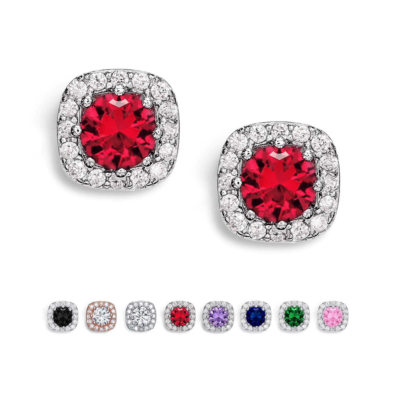SWEETV Cubic Zirconia Stud Earrings for Women, Girls-Cushion CZ Rhinestone Hypoallergenic Earrings for Party, Prom, Everyday,Jewelry Gifts,Ruby