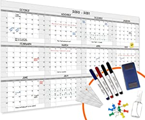 HEA Large Dry Erase Year Wall Calendar | Premium New Laminate | Blank Undated, Reusable & Erasable 12 Month 2020 Annual Planner | Classroom, Fiscal Year, Office, Project Schedule (60'' x 38'')