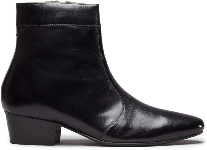 Club Cubano Caesar Mens Leather Cuban Heel Boots Black