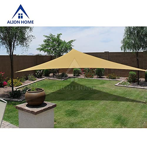 Alion Home 12x12x12 HDPE 180 GSM Sun Shade Sail – Sand 11 ft 10 Triangular