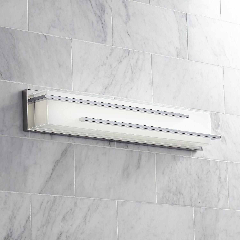 Jada Modern Wall Light LED Chrome Hardwired 26 1 4 Wide Light Bar Fixture White Glass for Bathroom Vanity – Possini Euro Design