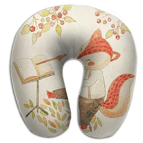 Navidad Fox cherrytherapeutic viajes y cuello almohada de espuma de memoria – cubierta lavable de microfibra