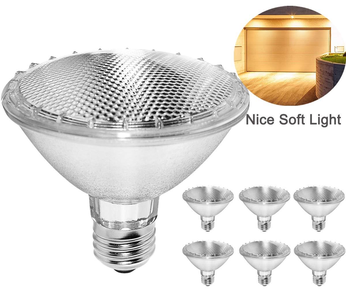 Par30 Short Neck,6PCS 75W 120V Halogen Flood Light Bulbs, Premium Quality for Long Lasting Life, E26 Base, 3000K Warm White, Great for Accent Lighting, Tracking Light