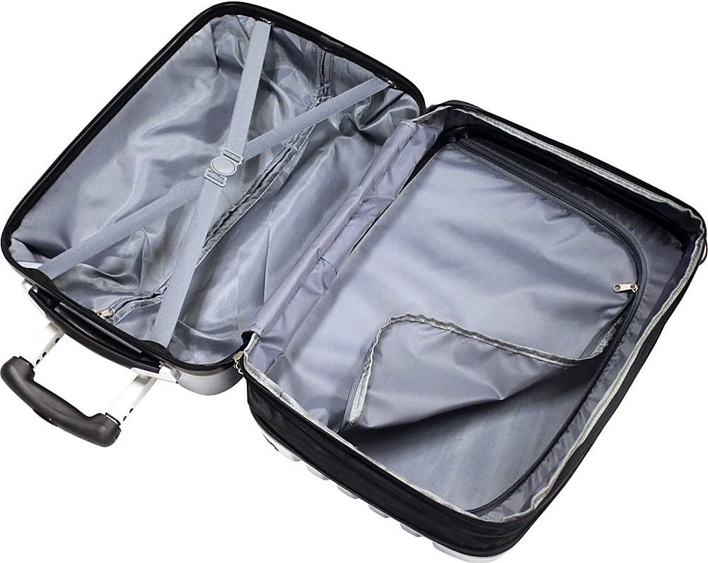 Silver//Grey Bellino 20 Inch Expandable Hardside Spinner Carry-On Luggage