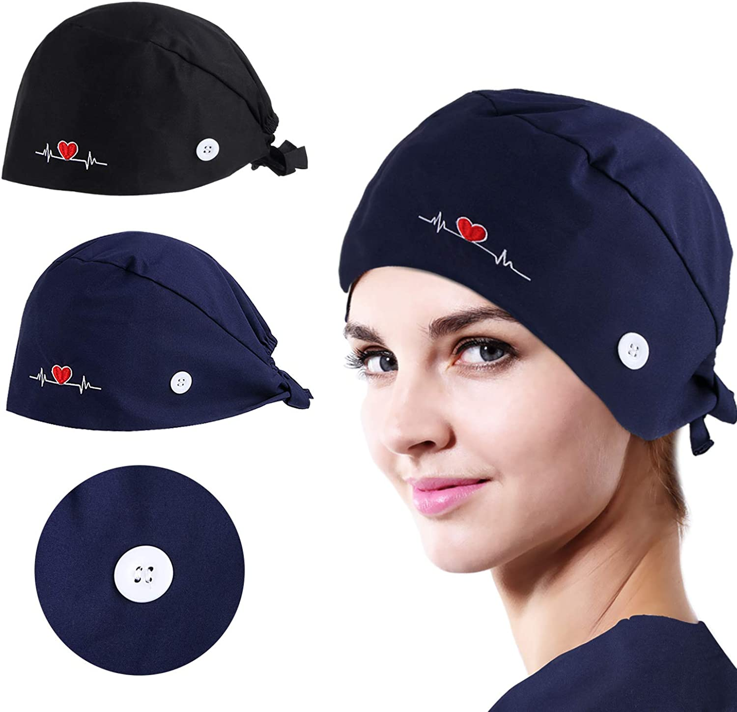 NOVWANG 2 Pcs Working Caps Love Embroidered Style Head Cover Hats Adjustable Cotton Sweatband Caps (Black+Dark Blue): Clothing