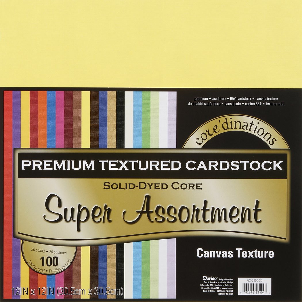 "Darice Core'dinations Premium 65-lb Cardstock Value Pack – 12x12"" Sheets of Premium, Acid Free Cardstock with a Solid-Dyed Core, 100-Pack Includes Five Sheets of 20 Colors"