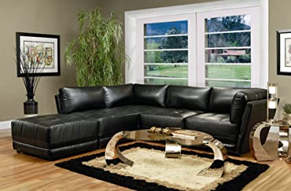 4 Piece Kayson Sectional And Ottoman In Black Bonded Leather
