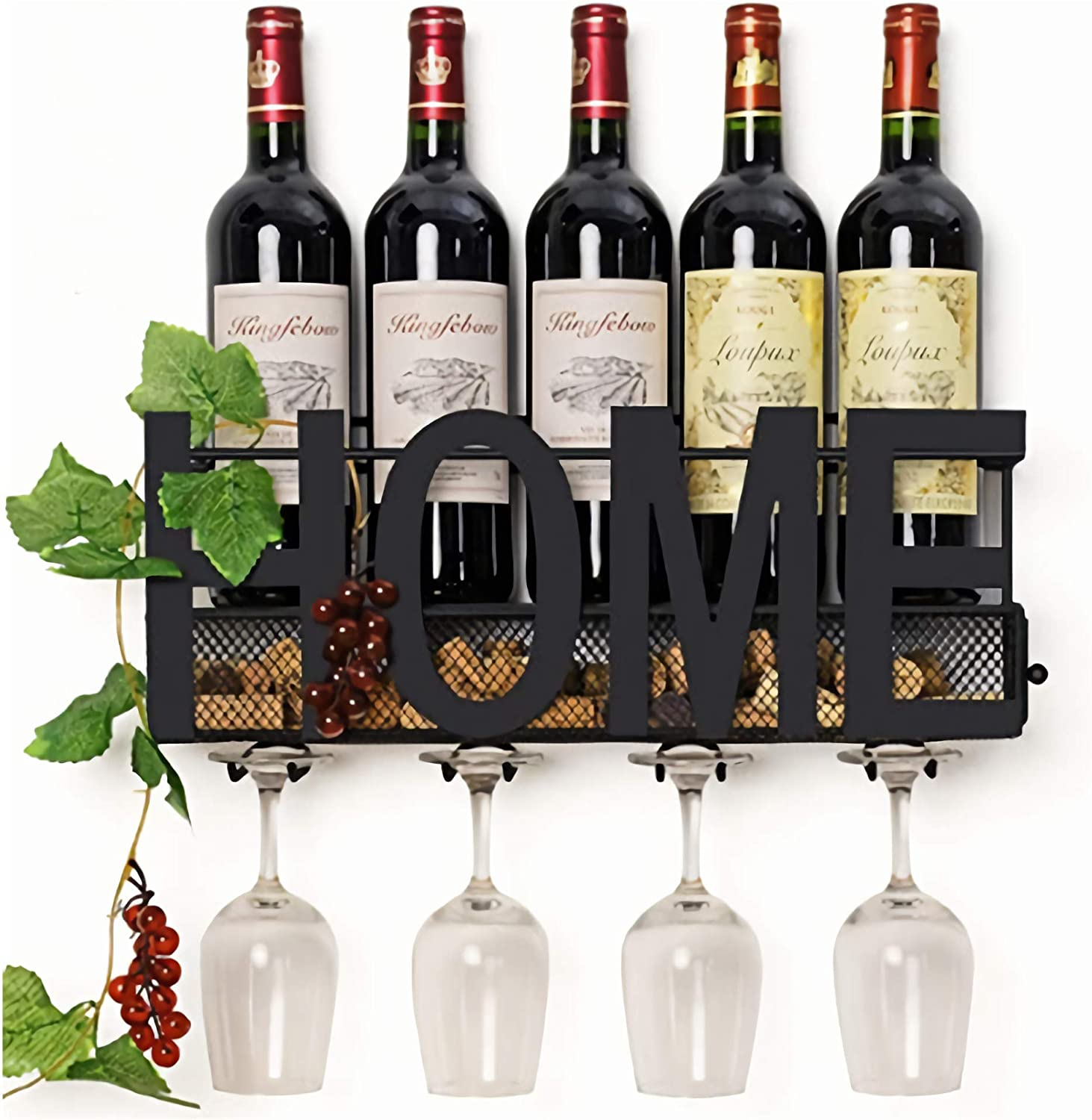 Wall Mounted Wine Rack - Bottle & Glass Holder - Cork Storage -Store Wine, soda, Champagne - Come with 6 Cork Wine Charms - Home &Kitchen Décor - Storage Rack