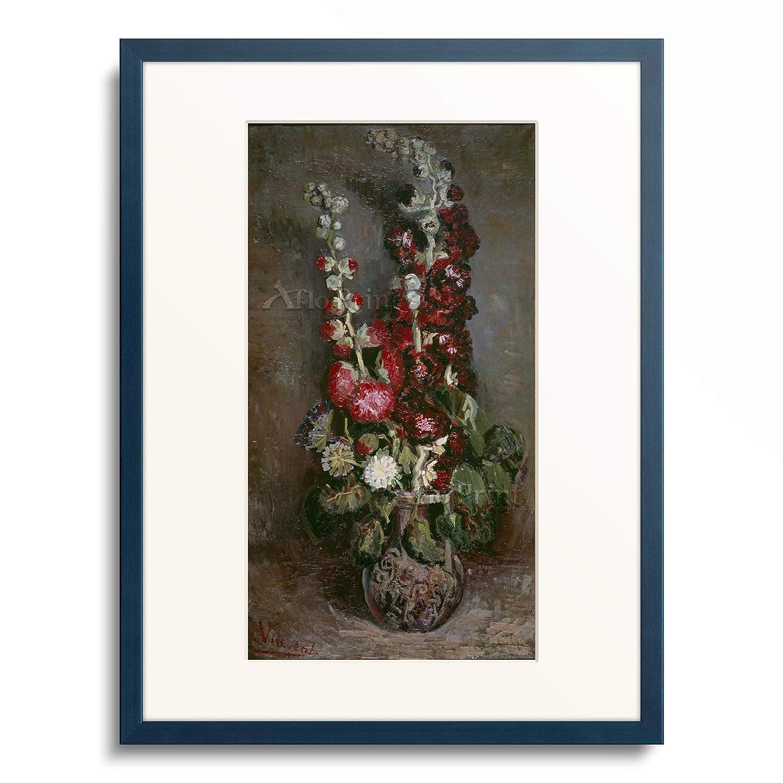 フィンセントファンゴッホ Vincent Willem van Gogh 「Vase mit Rosenmalven, 1886.」 額装アート作品 B07PGG5MP8 10.木製額 13mm(青) L(額内寸 509mm×394mm) L(額内寸 509mm×394mm) 10.木製額 13mm(青)