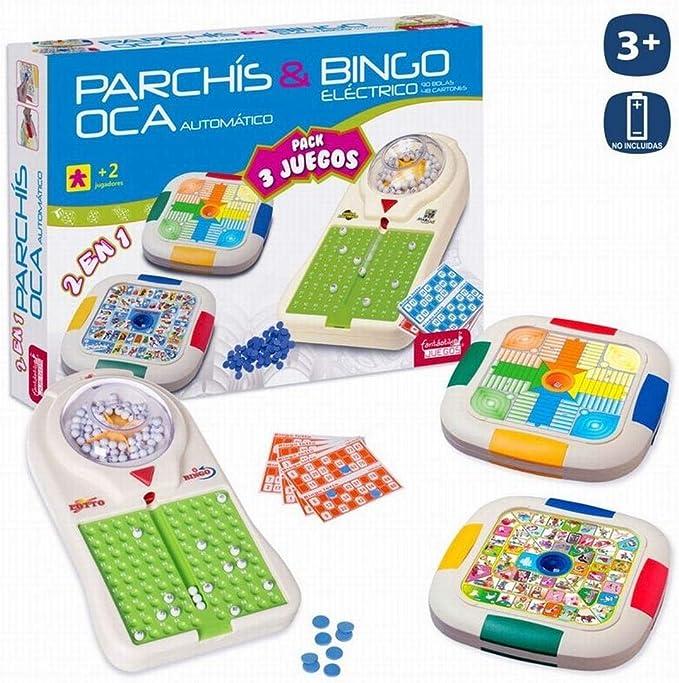 JUINSA- Set 3 Juegos Bingo/Parchis/Oca 54X38 Cm, (96828): Amazon.es: Juguetes y juegos