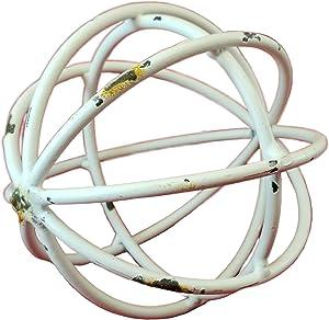 White Bar Metal Sphere Rustic Distressed 5 inch Diameter