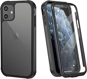 AFARER iPhone 7/8 case Built-in Tempered Glass Screen Protector, Slim Full Body 360 Degree Dual high-Performance Shell Shockproof Drop Proof Clear Protective case for iPhone 7/8 4.7 inch Clear Black