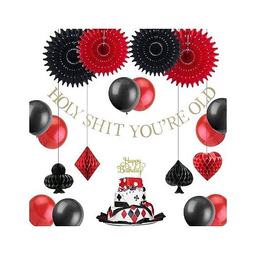 Decoraciones de fiesta de cumpleaños, globos negros y rojos ...