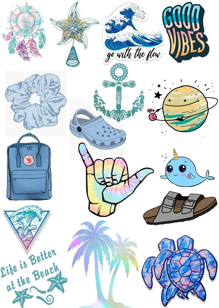 Waterproof VSCO Vinyl Stickers, Trendy-VSCO Girl Essential Stuff for Water Bottles Stickers,Stylish Aesthetic Laptop Luggage Suitcase Stickers, Skateboard Refrigerator Stickers for Teens