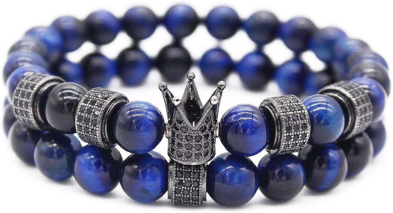 """Gemfeel CZ Crown Bracelet for Men 8mm Red Tiger Eye Stone Beads Bracelet Stack, 7.7"""""""