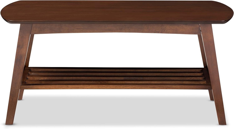 Amazon Com Baxton Studio Sacramento Mid Century Modern Scandinavian Style Coffee Table Dark Walnut Furniture Decor