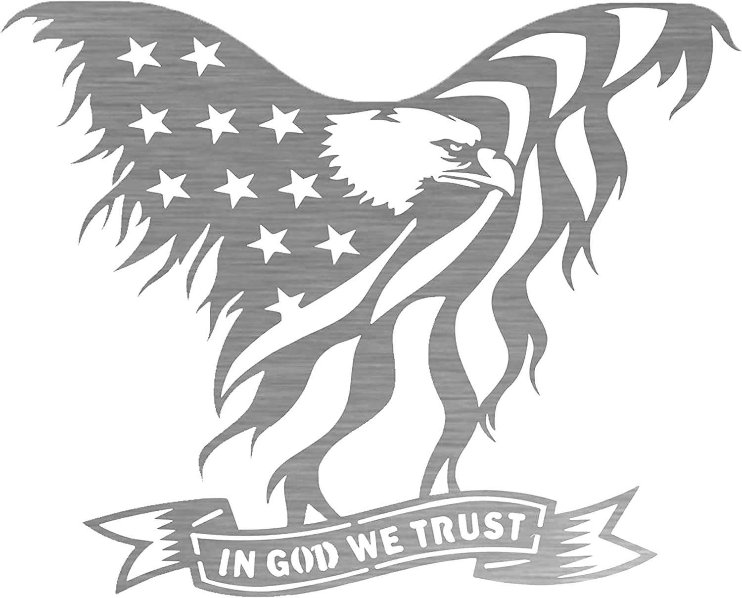 """Precision Metal Art Laser Cut American Eagle Steel Wall Art with 'in God We Trust' Banner – 30"""" Patriotic 3D Wall Décor for Home or Office, Ideal for Indoor or Outdoor Use"""