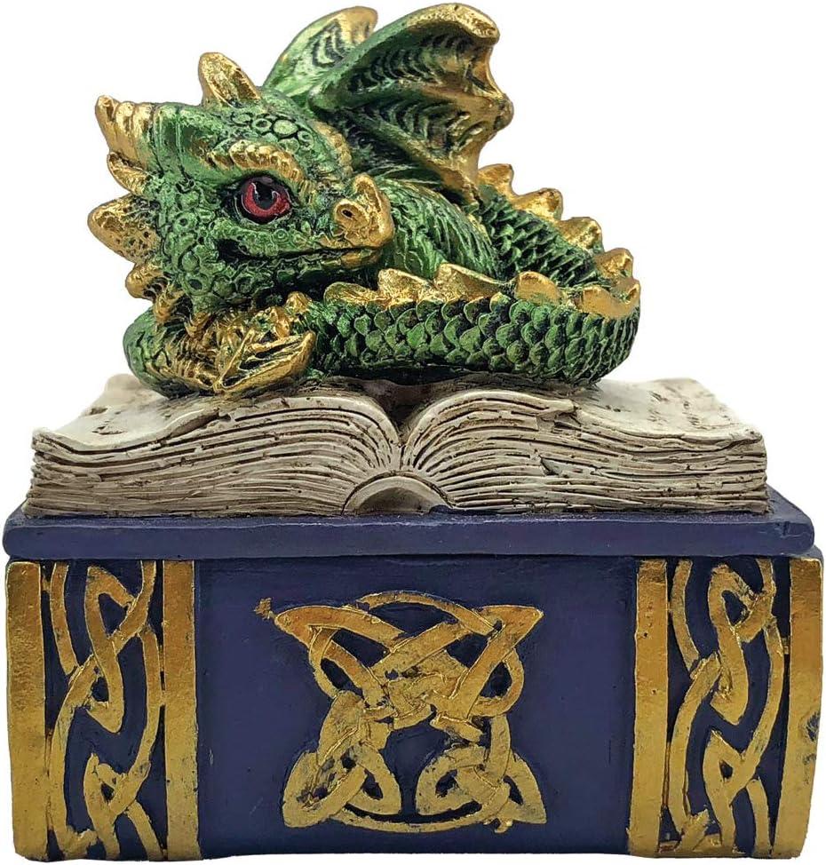 polirresina talla /única Caja de libro con dise/ño de drag/ón Nemesis Now Green Bedtime Stories