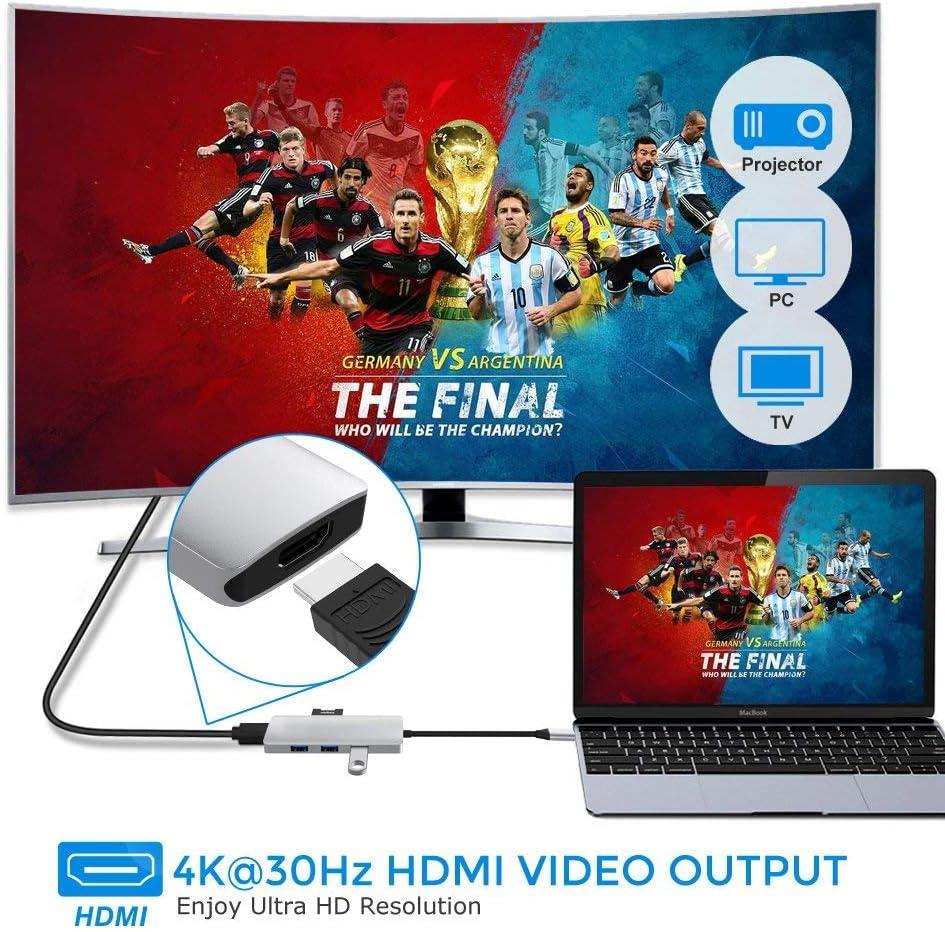 TB® USB C Hub (7 en 1) Adaptador con 4K@30Hz Hembra HDMI, USB 3.0 x 3, PD Puerto de Entrega de alimentación, SD/TF Lector de Tarjetas, Plug N Play: Amazon.es: Electrónica