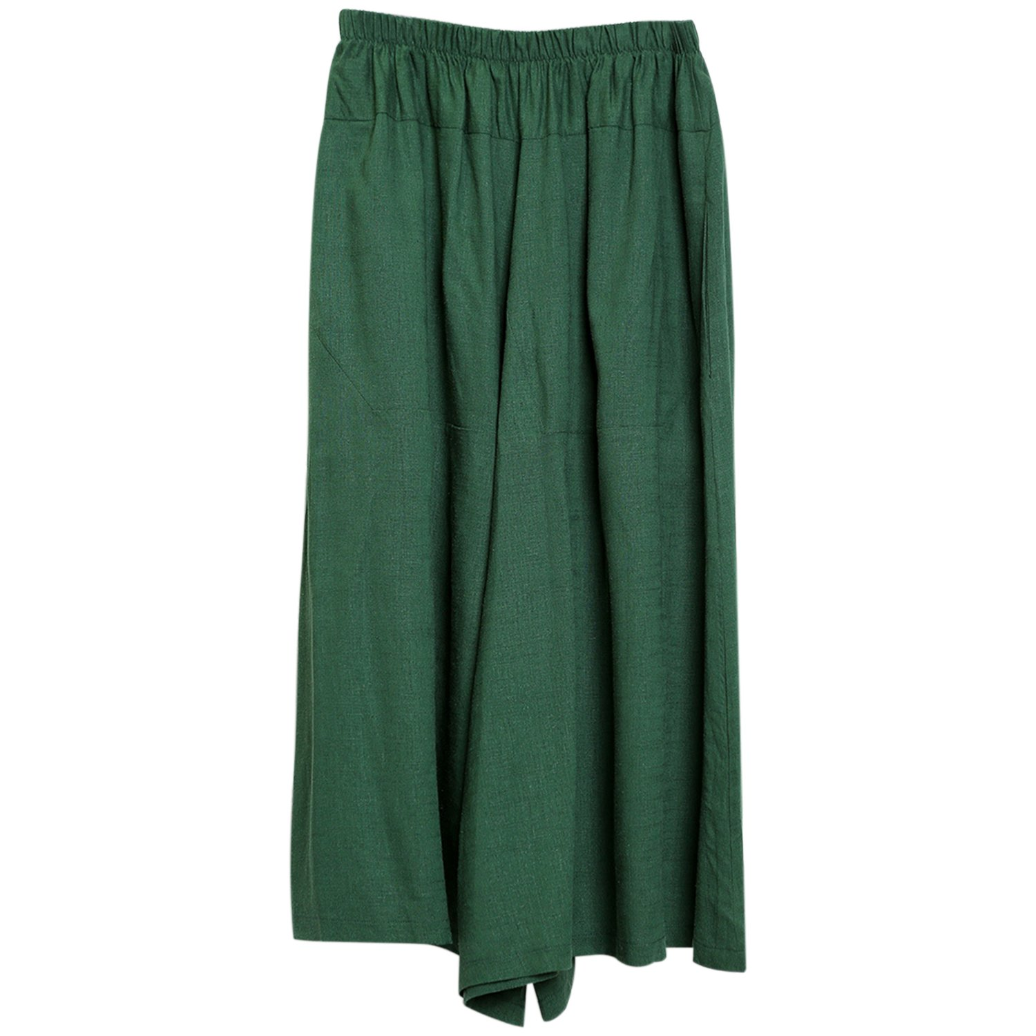 Fashion Story Women's New Elastic Waist Wide Leg Pants With Pockets Summer Casual Pants Green by Fashion Story