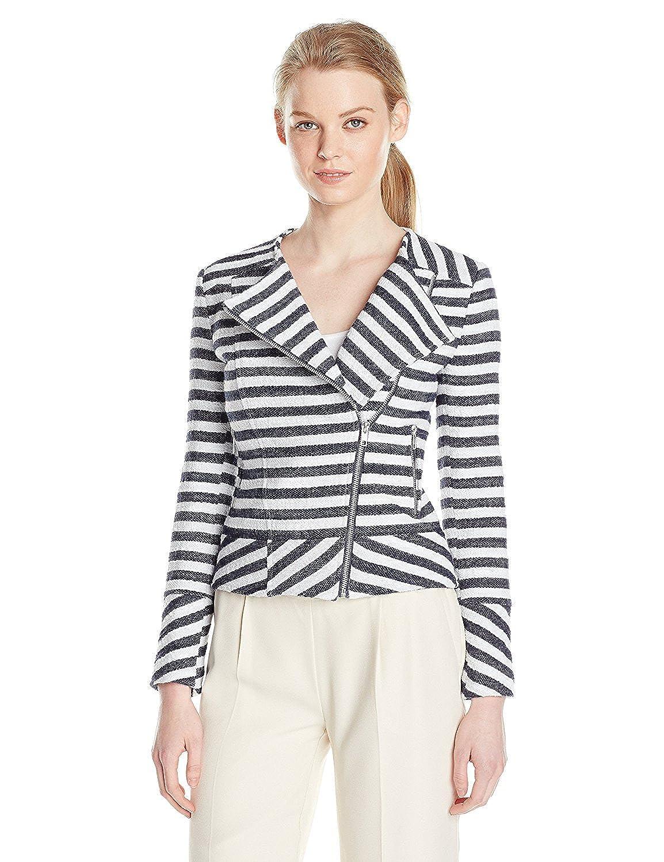 Helene Berman Women's Stripe Collarless Biker Jacket Navy/White 8 [並行輸入品] B075CHXW4S