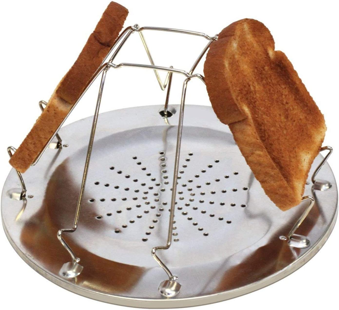 ASR Outdoor Stainless Steel Portable Folding Open Fire 4 Slice Toaster Bread Holder for Camping Backpacking Backcountry Breakfast