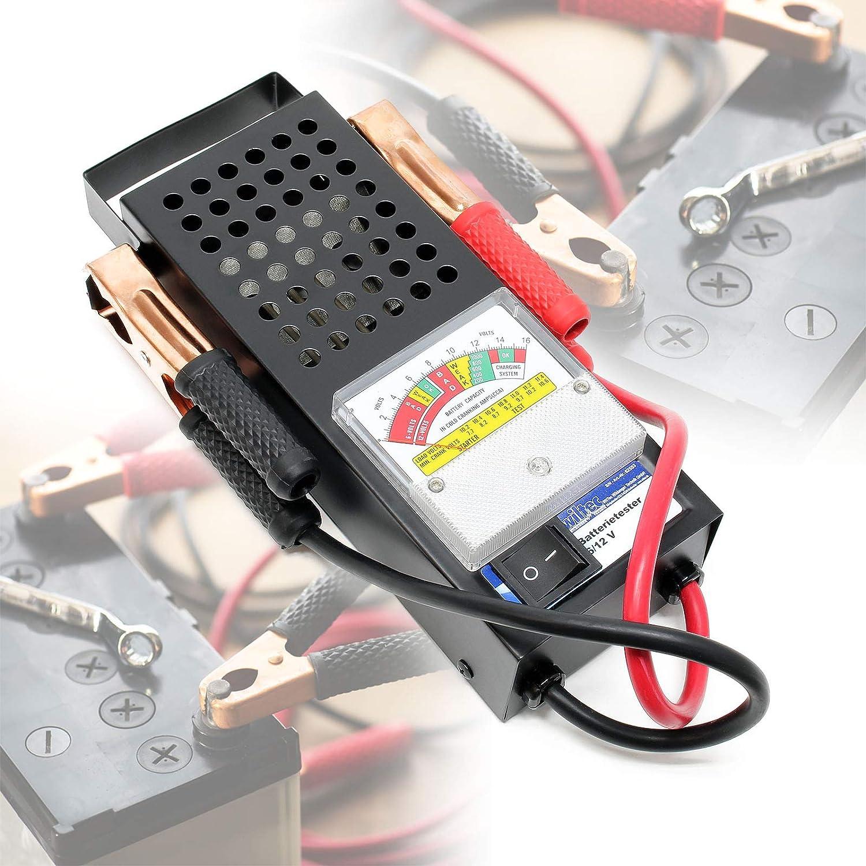 Comprobador para bater/ías de 6V y 12V con 2 pinzas medidor del sistema de bater/ía de veh/ículos