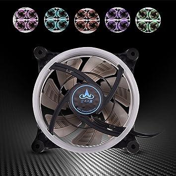 Asixx Ventiladores de refrigeración para computadora, 120mm 7-Blade RGB LED Luz Ajustable Caja de la computadora PC Ventiladores de refrigeración Alto Flujo de Aire ...