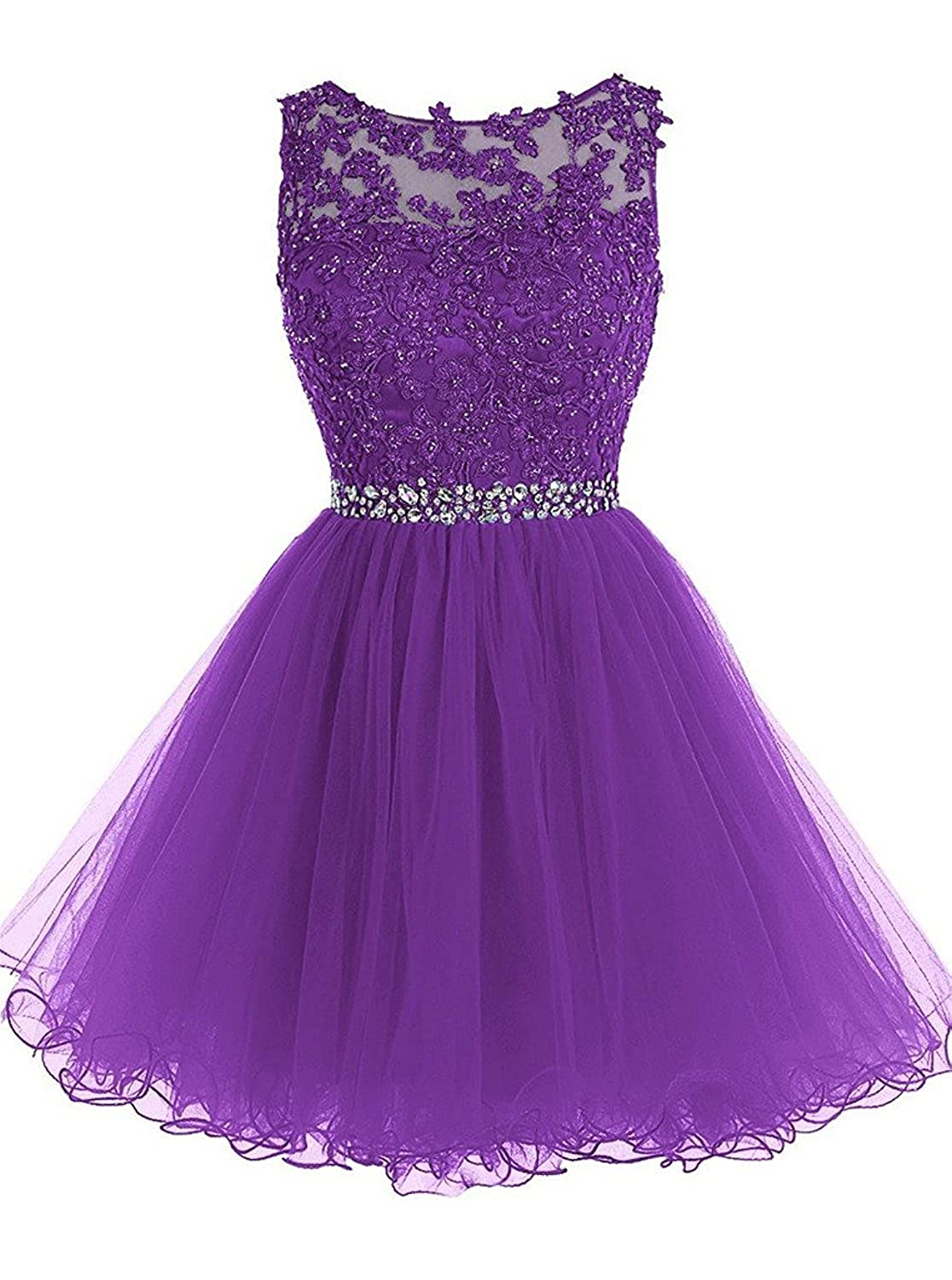 Purple Caissen Women's Short Ball Gown Sheer Crew Neck Beading Appliques Tulle Prom Dress Open Back with Zipper Mini Party Dress