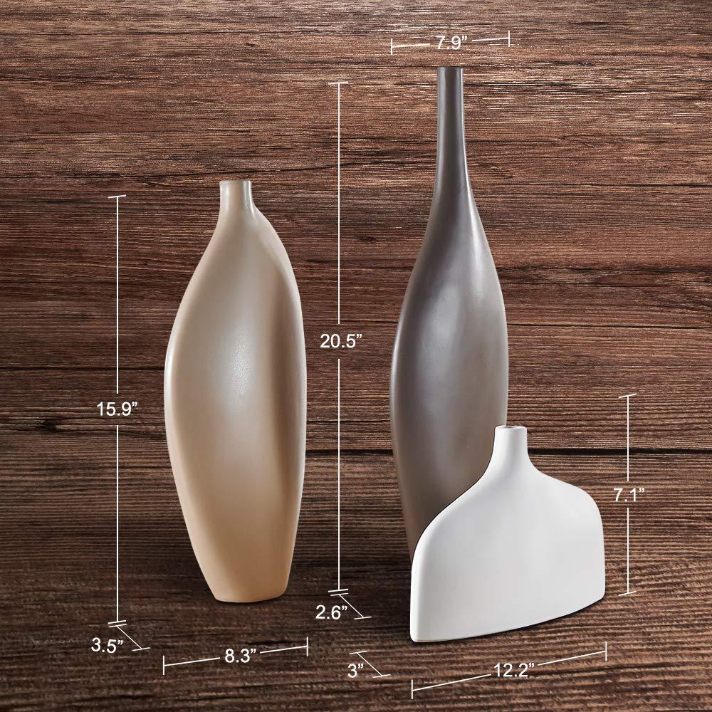 Deko Purelifestyle Kreativ Vase H/öhe 40,5 // 18 // 52 cm in 3 Farben Gro/ße Blumenvase 3-teilig Set Vasen aus Porzellan