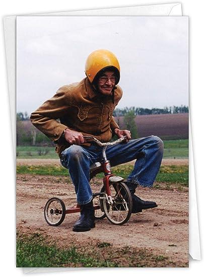 NobleWorks - Funny Retirement Card for Men - Employment Farewell Greeting, Fun Retirements - Senior Trike Ride C6435RTG