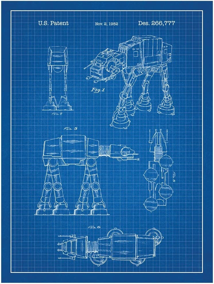 "Inked and Screened Star Wars at-at Design Patent Art Poster Silk Screen Print, 18"" W x 24"" L, Blue"