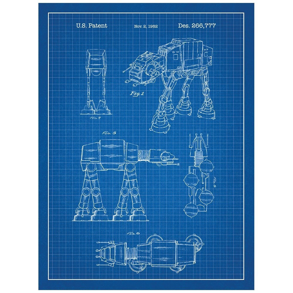 Amazon.com: Inked and Screened Star Wars at-at Design Patent Art ...