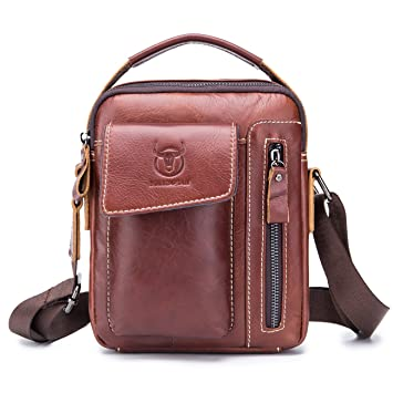 96e05777a5c8 BULL CAPTAIN Small Messenger Bag for Iphone 7 Plus Real Leather Casual  Multi-pocket Purse Handbag Crossbody Bags ZB-037 (Coffee)