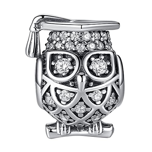 027031830 ANGELFLY Graduate Owl Charm 925 Sterling Silver Lucky Animal Charm Beads  fit Pandora Charms for Pandora