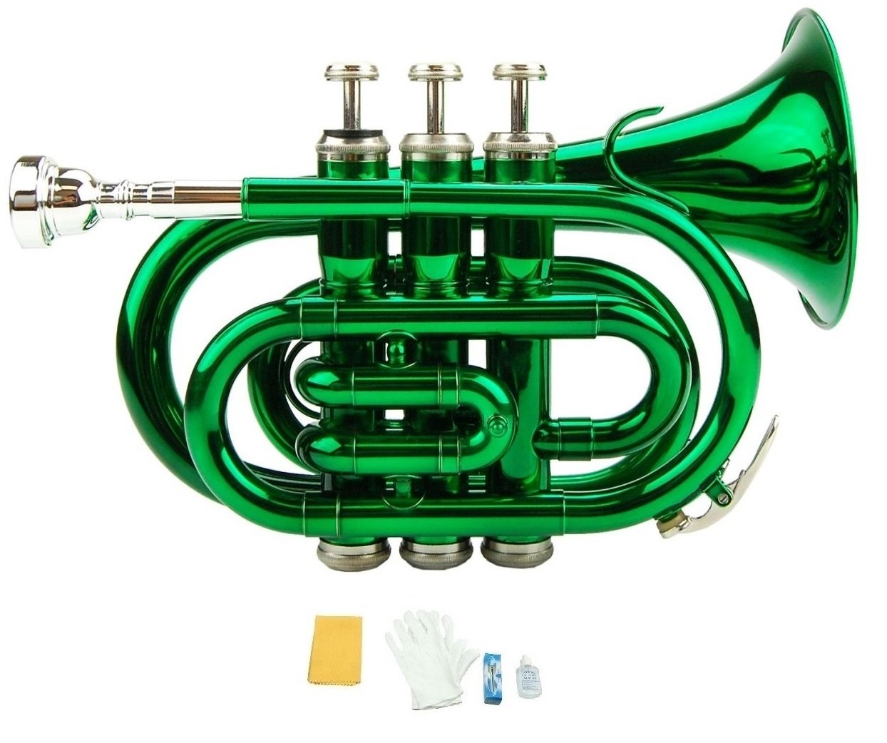 Merano B Flat Green Pocket Trumpet with Case+Mouth Piece;Valve oil;A Pair Of Gloves;Soft Cleaning Cloth
