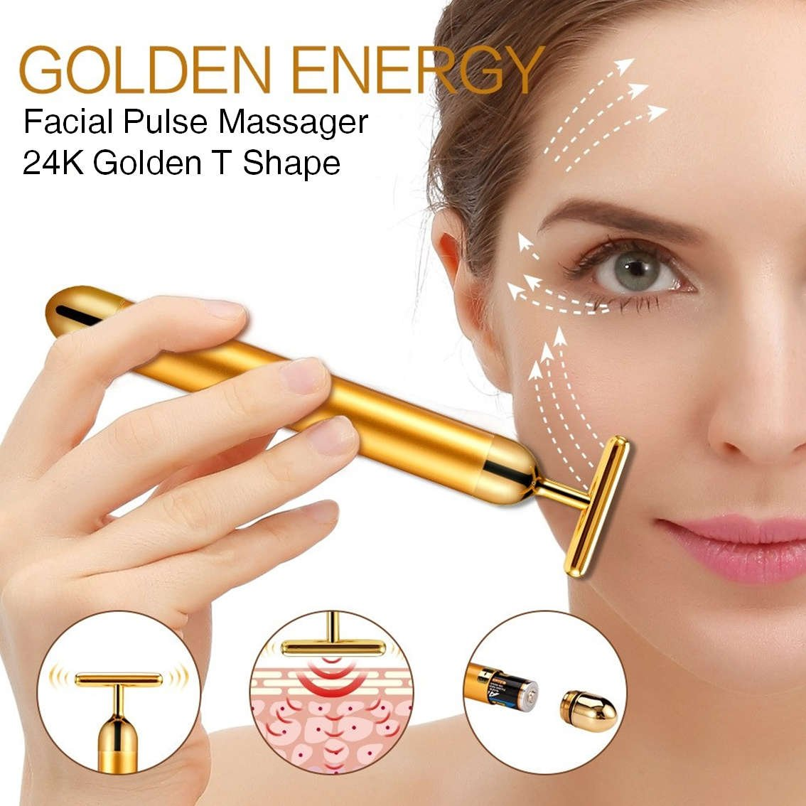 24k Golden pulse facial massager, Instant Face Lift, Anti-Wrinkles,Skin Tightening, Face Firming, Eliminate Dark Circles, and a good Anti-Aging Device for Man and Women (Gold) by AirPromise (Image #2)