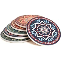 Enkore Absorbent Coasters for Drinks - 6 Pretty Mandala Patterns on Big Ceramic Stones with Cork Back, Use as Elegant Home Decor and Save Your Furniture from Damage by Water Stain and Marks