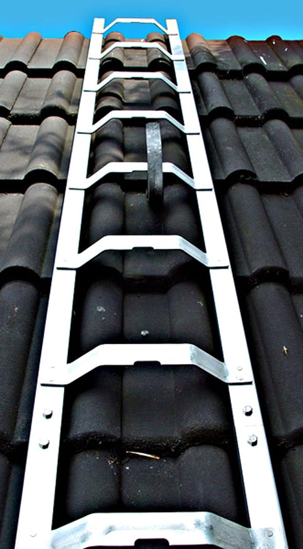 gew/ölbte Bremer Sprosse Dachleiter Aluminium 6,21 m Dachdeckerauflegeleiter 23 Sprossen nach BGR 203