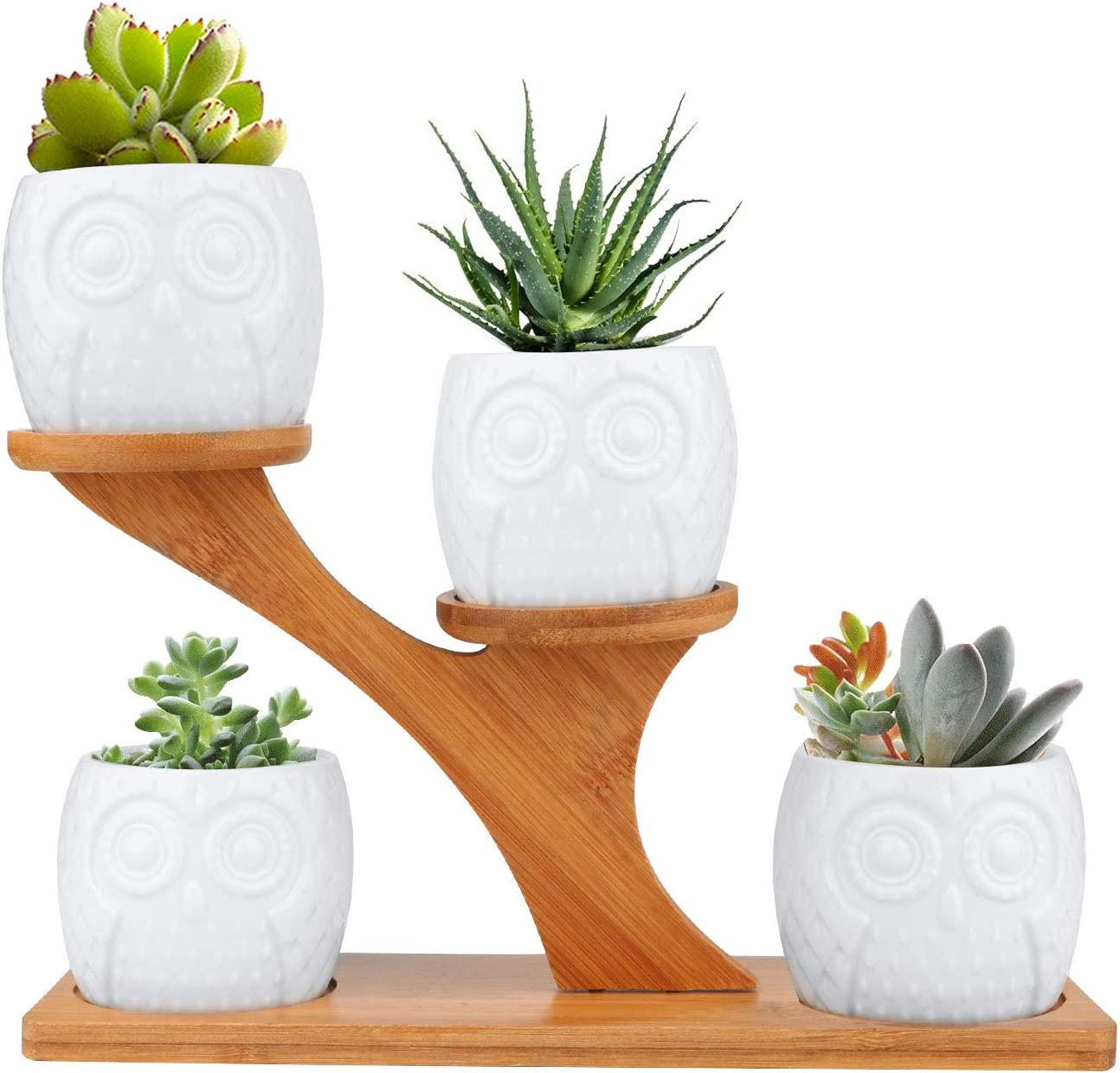 White Owl Ceramic Succulent Pots, Brajttt 4Pcs Modern Decorative Flower Planters w/ 4 Tier Bamboo Saucers Stand Holder &Drainage, Home Office Desk Garden Mini Cactus & Flower Pots